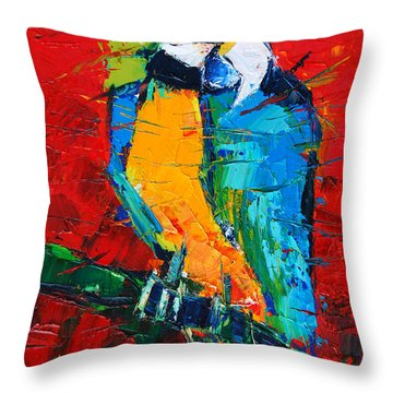 Coco The Talkative Parrot Throw Pillow