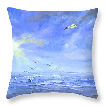 Throw Pillow featuring the painting Cocoa Beach Birds by AnnaJo Vahle
