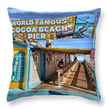Cocoa Beach Pier In Florida Throw Pillow by David Smith