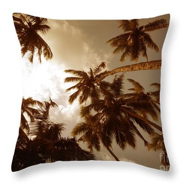 Coconut Palms Throw Pillow by Mini Arora