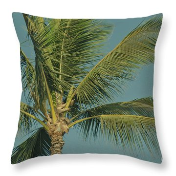 Cocos Nucifera - Niu - Palma - Po'olenalena Beach Maui Hawaii Throw Pillow by Sharon Mau