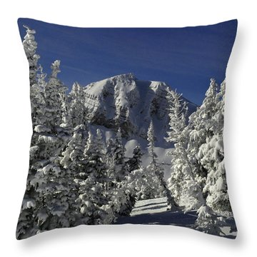 Cody Peak After A Snow Throw Pillow by Raymond Salani III