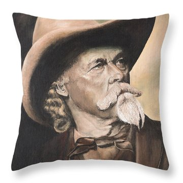 Throw Pillow featuring the painting Cody - Western Gentleman by Mary Ellen Anderson