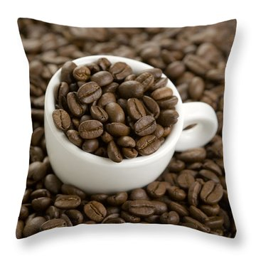 Throw Pillow featuring the photograph Coffe Beans And Coffee Cup by Lee Avison