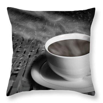 Coffe Cup And Saucer With Alphabet Lettering Throw Pillow by Randall Nyhof