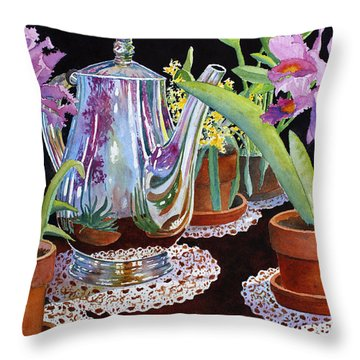 Throw Pillow featuring the painting Coffee And Flowers by Roger Rockefeller