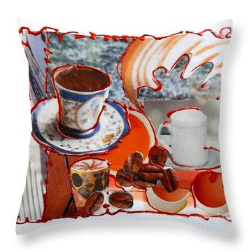 Coffee And Lunch Throw Pillow