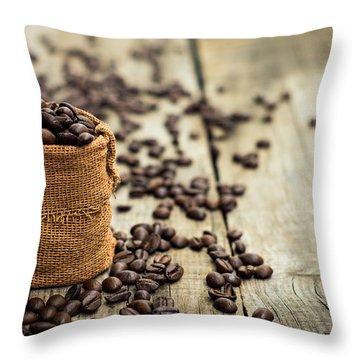Coffee Beans Throw Pillow by Aged Pixel