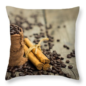 Coffee Beans And Cinnamon Stick Throw Pillow