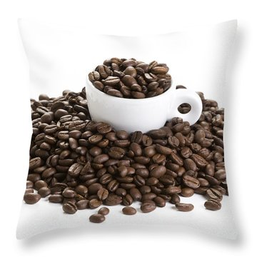 Throw Pillow featuring the photograph Coffee Beans And Coffee Cup Isolated On White by Lee Avison