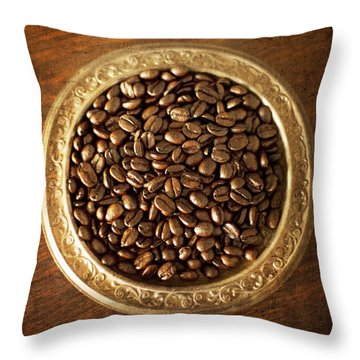 Coffee Beans On Antique Silver Platter Throw Pillow