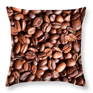 Coffee Beans  Throw Pillow by Sharon Dominick