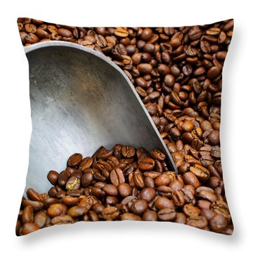 Throw Pillow featuring the photograph Coffee Beans With Scoop by Jason Politte