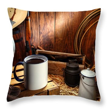 Coffee Break At The Chuck Wagon Throw Pillow by Olivier Le Queinec