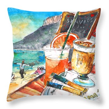 Coffee Break In Stavros In Crete Throw Pillow by Miki De Goodaboom