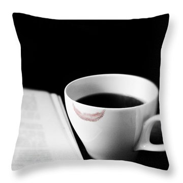 Coffee Cup With Lipstick Mark And Book Throw Pillow
