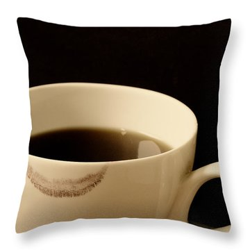Coffee Cup With Lipstick Mark Throw Pillow by Birgit Tyrrell