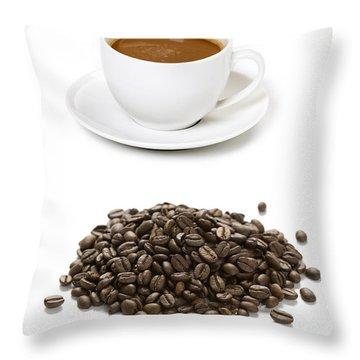 Throw Pillow featuring the photograph Coffee Cups And Coffee Beans by Lee Avison