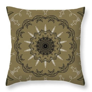 Coffee Flowers 3 Olive Ornate Medallion Throw Pillow by Angelina Vick