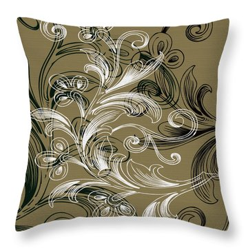 Coffee Flowers 4 Olive Throw Pillow