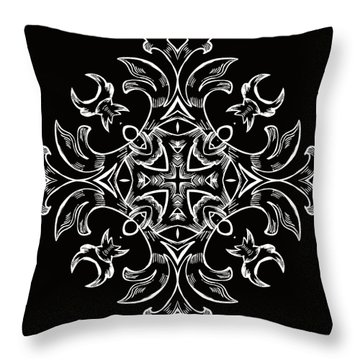 Coffee Flowers 7 Bw Ornate Medallion Throw Pillow by Angelina Vick