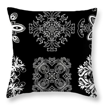 Coffee Flowers Ornate Medallions Bw 6 Peice Collage Throw Pillow by Angelina Vick