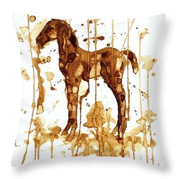 Coffee Foal Throw Pillow by Zaira Dzhaubaeva