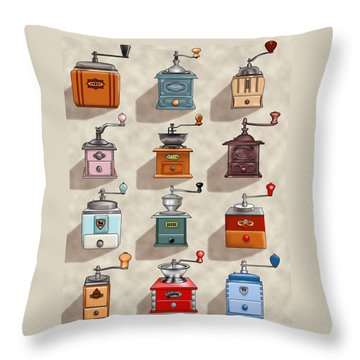Coffee Grinder Wall Throw Pillow