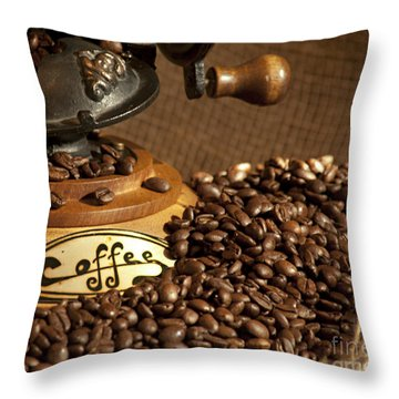 Coffee Grinder With Beans Throw Pillow by Gunter Nezhoda
