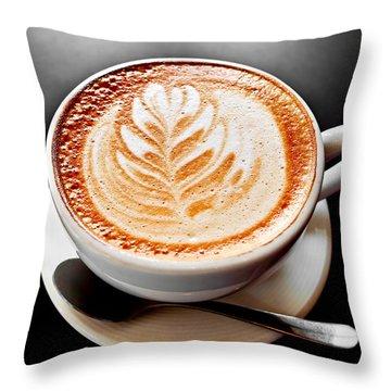 Coffee Latte With Foam Art Throw Pillow by Elena Elisseeva