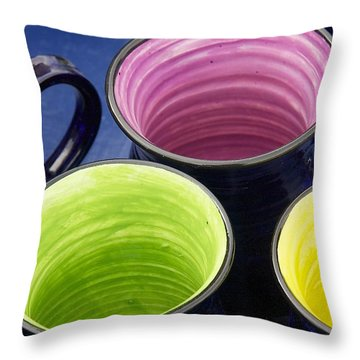 Throw Pillow featuring the photograph Coffee Mugs by Stuart Litoff