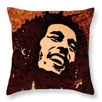 Coffee Painting Bob Marley Throw Pillow