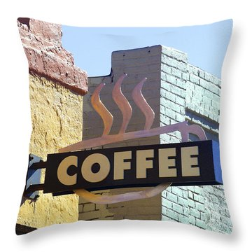 Coffee Shop Throw Pillow by Art Block Collections