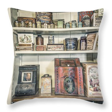 Coffee Tobacco And Spice - On The Shelves At A 19th Century General Store Throw Pillow by Gary Heller