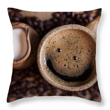 Throw Pillow featuring the photograph Coffee With A Smile by Aaron Aldrich