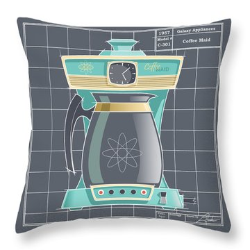 Coffeemaid -aqua Throw Pillow