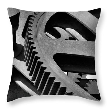 Throw Pillow featuring the photograph Cogwheels In Black And White by Nadalyn Larsen