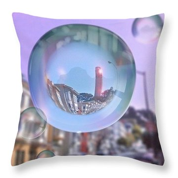 Coit Tower In A Bubble And Purple Sky Throw Pillow by Anna Porter