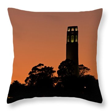 Throw Pillow featuring the photograph Coit Tower Sunset by Kate Brown