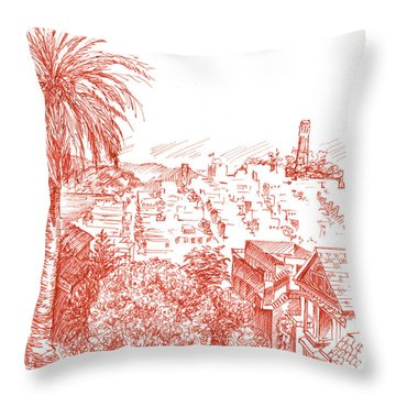 Coit Tower View From Russian Hill San Francisco Throw Pillow