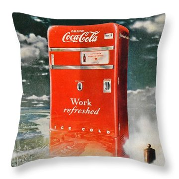 Coke - Coca Cola Vintage Advert Throw Pillow by Georgia Fowler