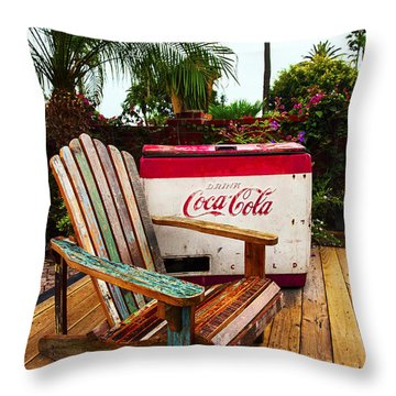 Vintage Coke Machine With Adirondack Chair Throw Pillow by Jerry Cowart