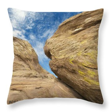 Throw Pillow featuring the painting Colby's Cliff by Bruce Nutting