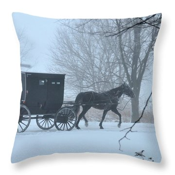 Cold Amish Morning Throw Pillow