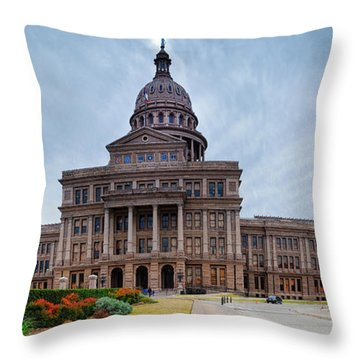 Cold And Blustery Day At The Texas State Capitol Austin Ektachrome 64 Asymmetrical View  Throw Pillow