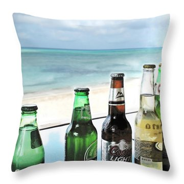 Cold Beers In Paradise Throw Pillow by Joan  Minchak