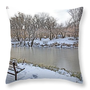 Cold Camping Throw Pillow