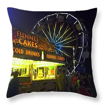 Cold Drink And Funnel Cakes Throw Pillow by Joyce  Wasser