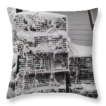 Throw Pillow featuring the photograph Cold Lobster Trap by Robert Nickologianis