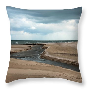 Cold Morning At The Beach Throw Pillow